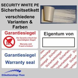 SECURITY WHITE PE - Sicherheitsetiketten