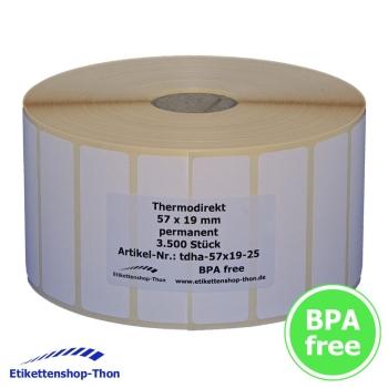 Polyethylenetiketten PE-Folie 3500 Stück Hülse 25 mm 57 x 19 mm