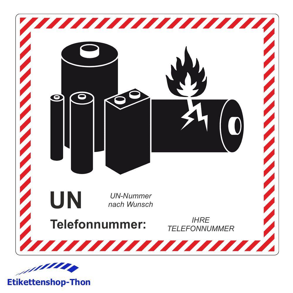 Etikettenshop Thon Transportaufkleber Lithium Batterien