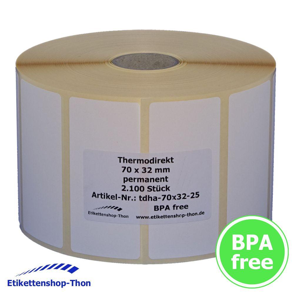 Etiketten auf Rolle 2100 Stück 70 x 32 mm Thermodirekt