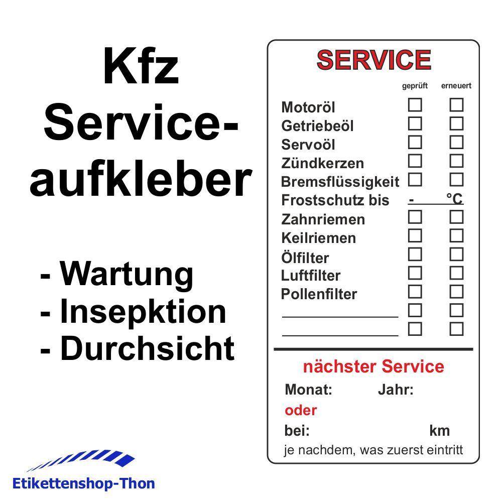 Etikettenshop-Thon - Serviceaufkleber für Kfz- Wartung / Inspektion ...