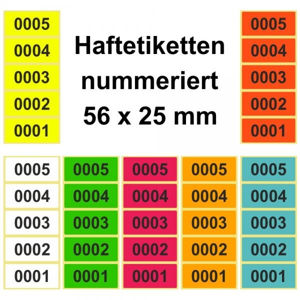 56 x 25 mm Aufkleber Polyester silber fortlaufend nummeriert Etiketten